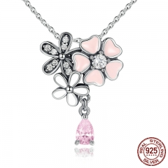 925 Sterling Silver Pink Heart Blossom Cherry Flower 45CM Pendants & Necklaces Women Sterling-Silver-Jewelry SCN046